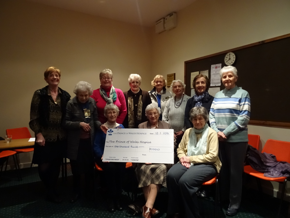 The Ackworth Social Service Centre ladies group donate £1000 to The Prince of Wales Hospice